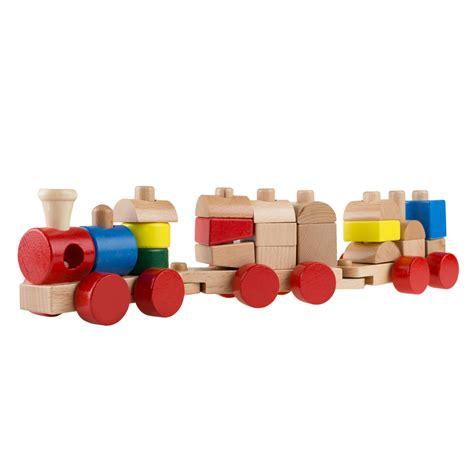 Wooden block train set Image