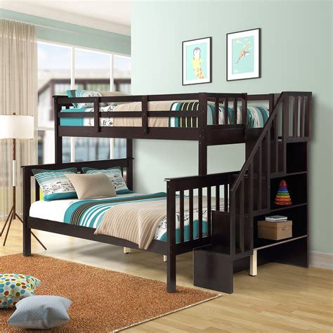 Wooden bunk beds with stairs Image