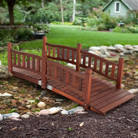 Wooden garden bridge Image