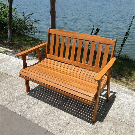 Wooden outdoor bench Image