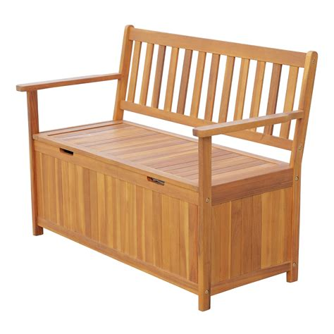 Wooden outdoor bench with storage Image