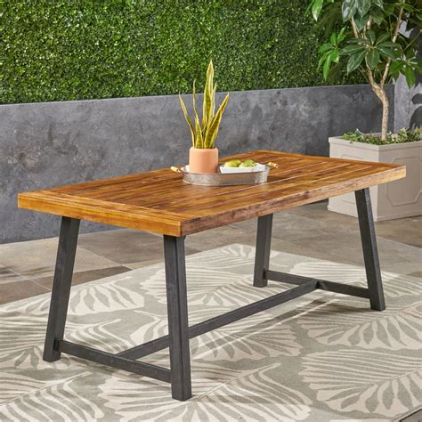 Wooden outside table Image