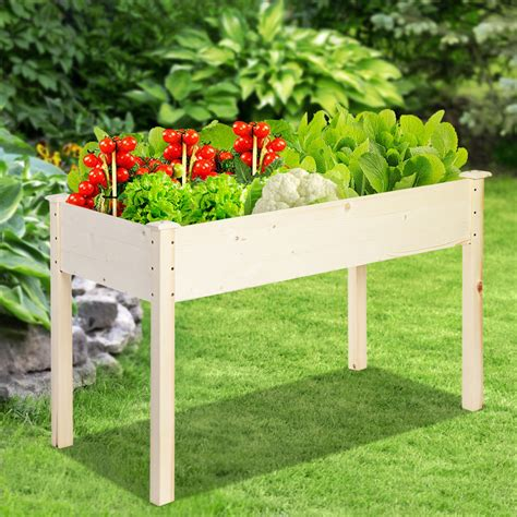 Wooden raised planter Image