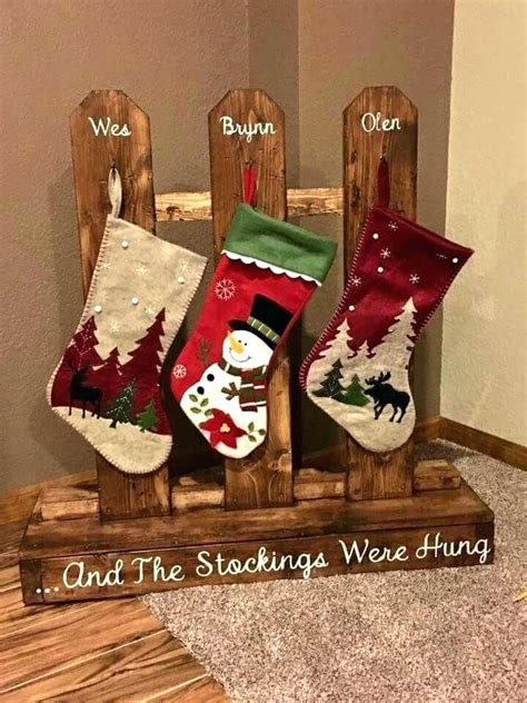 Wooden stocking holder stand Image