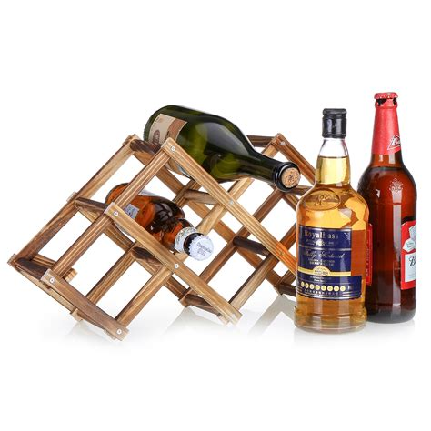 Wooden tabletop wine rack Image