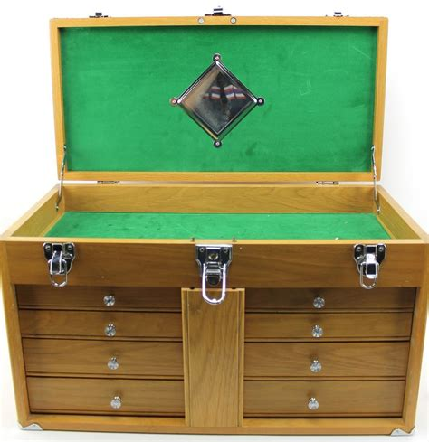 Wooden tool box with drawers Image