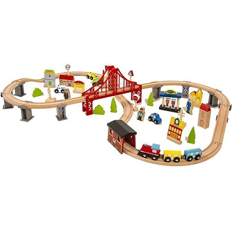 Wooden train sets for toddlers Image