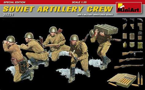 Ww2 Soviet Artillery Crew 5 Figures W Ammo Box
