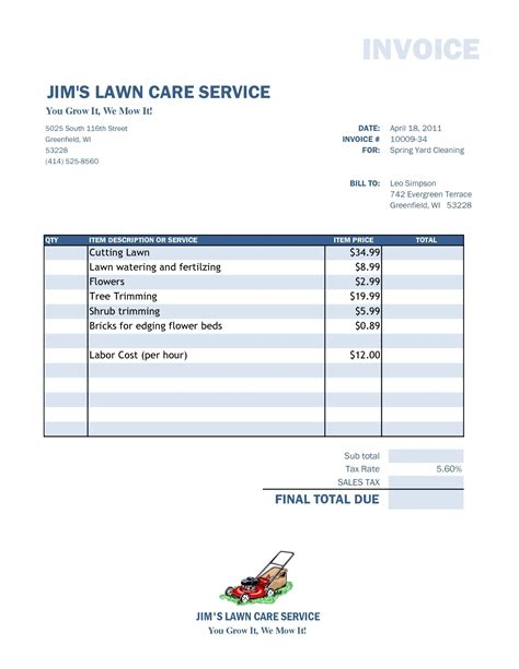 Yard Work Invoice Template CV Templates Download Free CV Templates [optimizareseo.online]